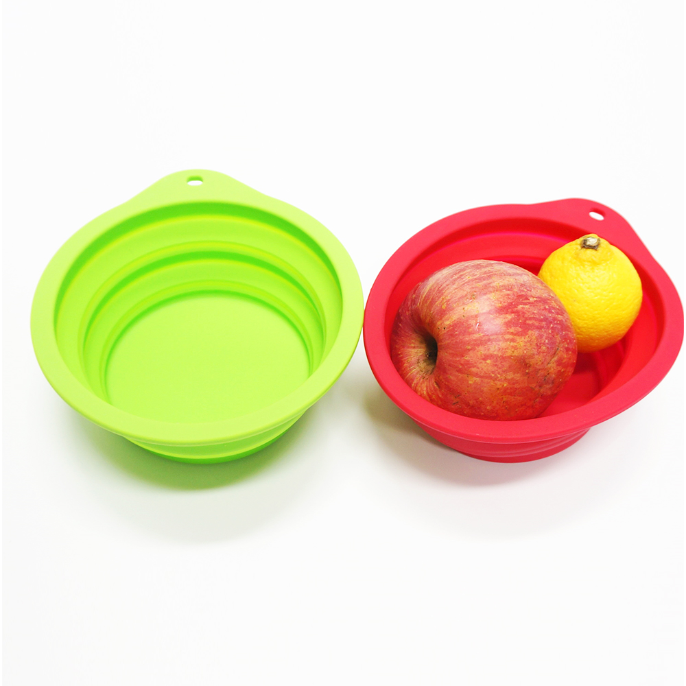 Food grade collapsible portable unbreakable silicone pet dog food bowl