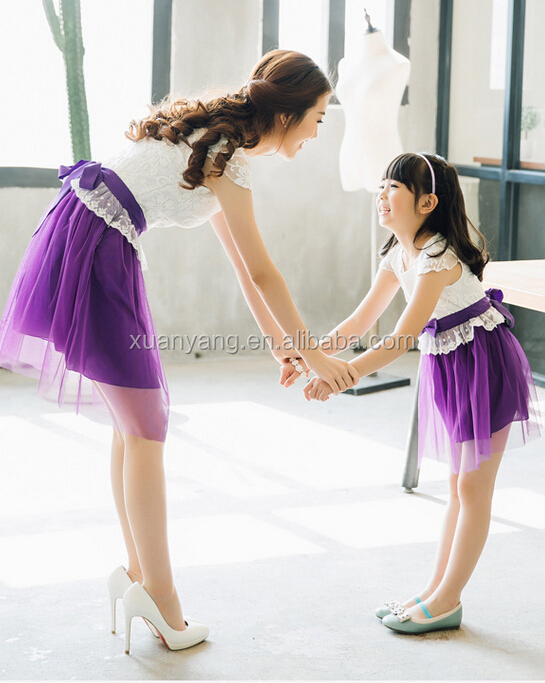 fashion style ladies summer dress mother daughter matching clothing for summer