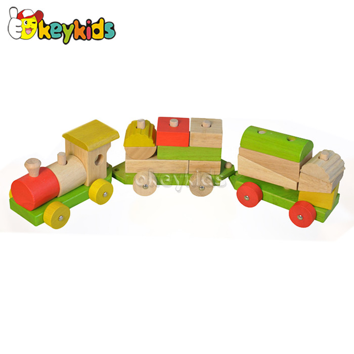 2016 wholesale wooden train drag toy, baby wooden train drag toys, popular wooden train drag toys W05C032