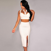 SEXY DRESS SET SLIP HALTER TOP AND SPLIT WRAP SKIRTS TWO PIECES DRESS SET FOR WOMEN