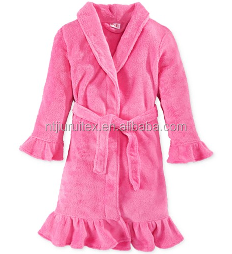 kid's girls' solid pink color ruffle coral fleece plush robe
