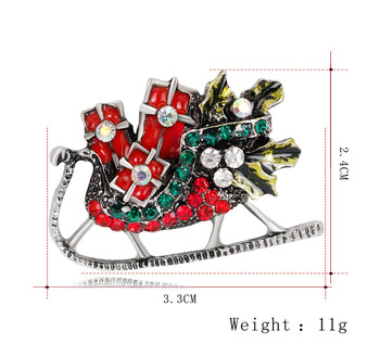 Colorful Christmas Party Crystal Xmas Sled Brooch Pin Antique Santa Sleigh Brooch