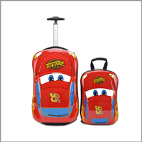 2016 hot sale pc material car style kids trolley school bag trolley bag