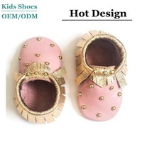 J-B0188 Shiny Sumptuous Pink Baby Toddlers Shoes Gold Tassel Genuine Leather Bead Baby Shoes