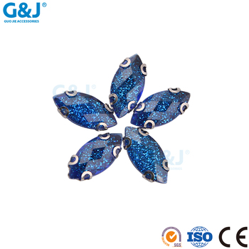 guojie brand factory high quality produce deep blue color resin and stainless steel stone