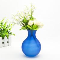 Hand blown unique design collectable frosted cobalt blue art glass bud flower vase for decorative