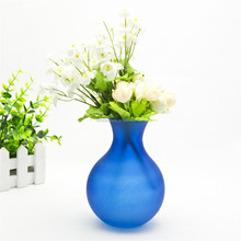 Hand blown unique design collectable frosted cobalt blue art glass bud flower vase for decorative
