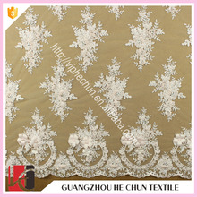 HC-6497-1 Hechun Beaded Chiffon Flower Embroidery Designs Bridal Lace Fabric Wholesale