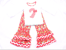Christmas children boutique clothes christmas crutch appliqued ruffle outfits birds in girls clothing imported baby clothing