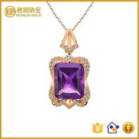 Beautiful Gold Plated Silver Pendant Crystal Holly Willoughby Necklace Statement Jewelry for Women