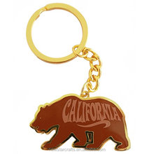 Custom design California Gold Bear metal enamel keychain