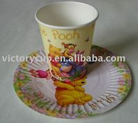 Custom printed 6 inches disposable paper plate with paper cup