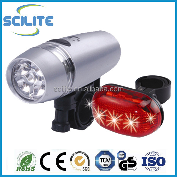 Ultra Brightness LED Front Rear Bicycle Light set 5 LED Headlight 5 LED Taillight