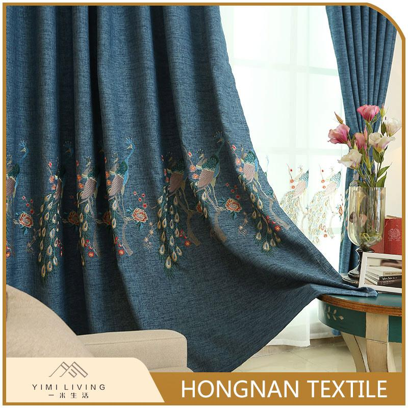 Modern design oem fancy black out curtain with embroidery