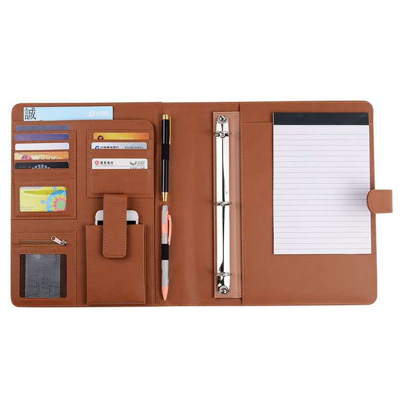 Executive Zippered Padfolio with Letter Size Writing Pad& Removable 3-Ring Binder Leather Cover Ring Binder Notebook Combo