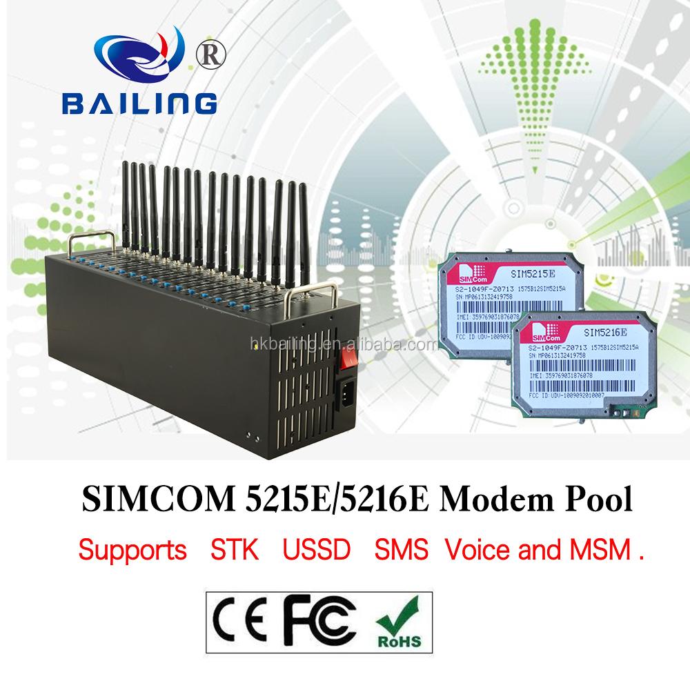 3G Modem Pool SIM Toolkit Reload STK USSD SIM5215E 16 Port GSM Modem
