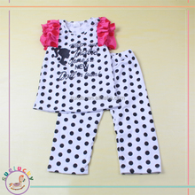 boutique summer red ruffle sleeves black polka dots top with offset point pattern set baby girls clothing set