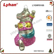 Lyhan handmade galss and poly pink dancing hippofor 2017 Christmas Tree Decoration