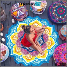 Lotus Flower Retro Colorful Beach Towel Tassel Printing Shawl Yoga Mat Tablecloth