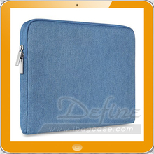 Light Blue Denim Fabric Laptop Sleeve for Notebook Computer