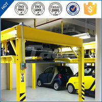 4 post PJS 2 layer vertical mechanical portable car parking lift for home use