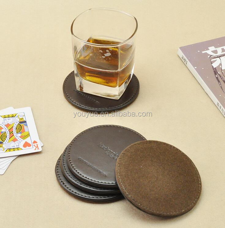 Handmade leather beer coaster with customer logo