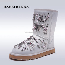 BASSIRIANA - womans snow boots warm fur lining rhingstones decoration 2017 new model 35-40size