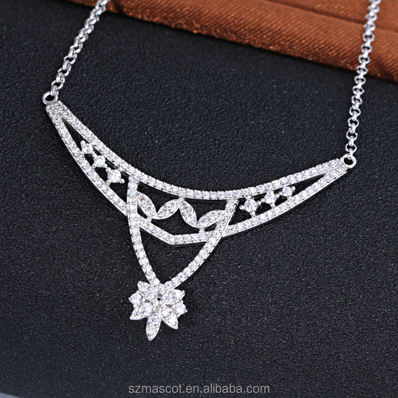 Women's White Gold Plated Flower Long Sweater Chain Necklace