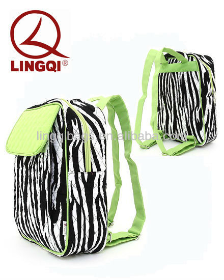 Stylish Belvah Medium Cute Quilted Zebra Stripe Print Fabric Backpacks Purse
