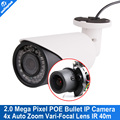 4x Zoom Auto Iris Varifocal Motorized Lens IR 40m Outdoor 2MP Varifocal Camera With POE support P2P View