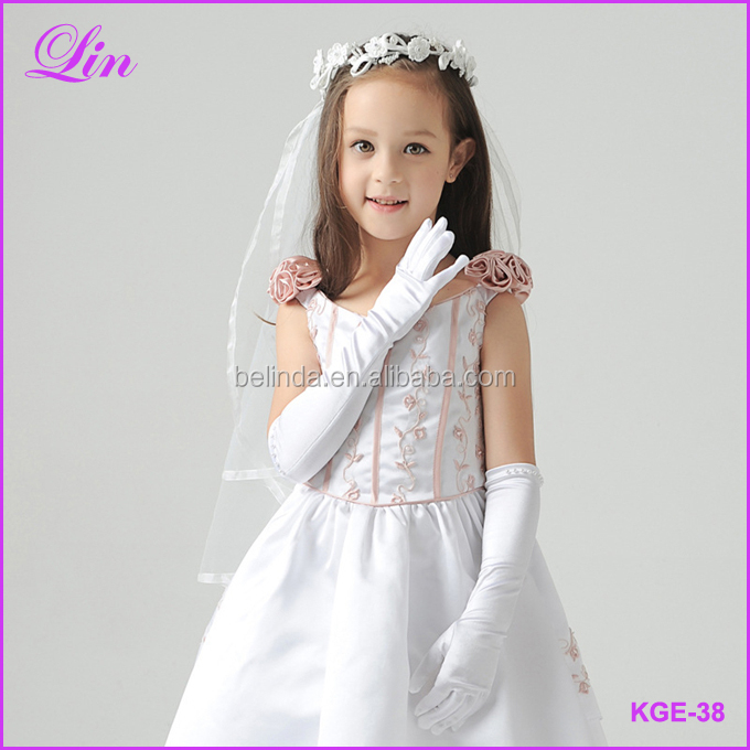 Free Shipping by DHL/FEDEX/SF Kids White Gloves Long Finger Gloves For Flower Girl Children Party Dress Beading Long Gloves kids