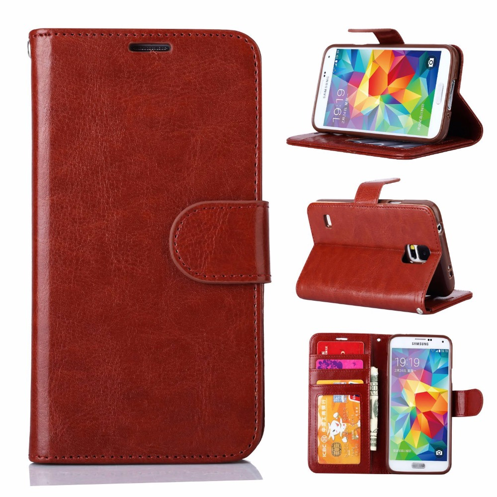 Hot selling mobile phone shell for samsung galaxy s5 luxury case leather folio flip wallet case for samsung s5