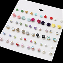 30 Pairs/Lot Simulated Pearl Earrings Punk Resin Flower Crystal Glass Stone Mix Stud Earring Set For Woman Jewelry Gift