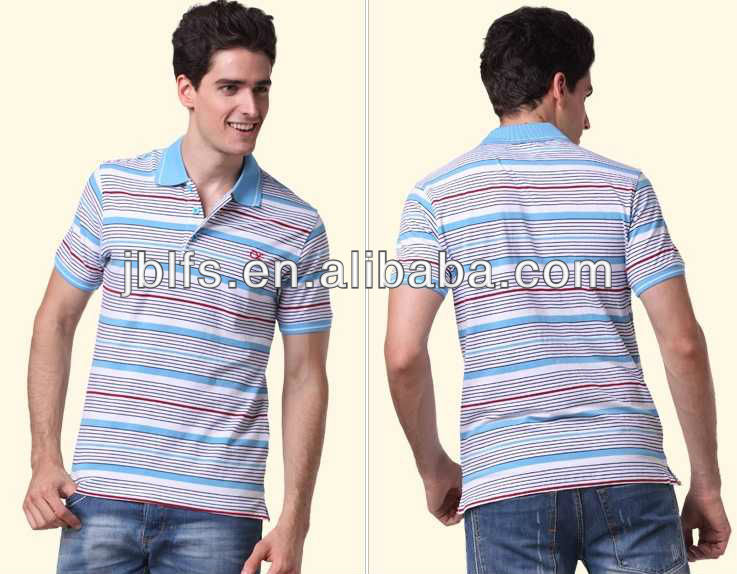 2013 famous Korean top fashion brand striped polo t shirt