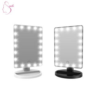 Table Top Stand Vanity Touch Screen USB Charging Private Label Make up Cosmetic Mirror With LED Light