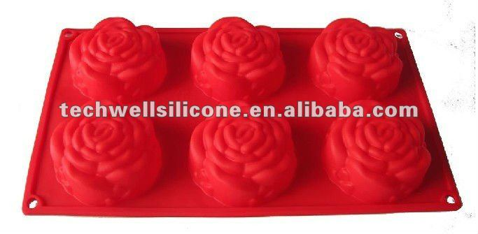 Silicone 6 cup rose shape cake mould