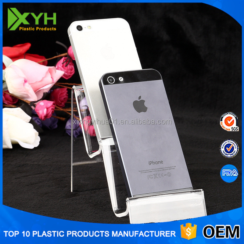 Clear desktop cell phone holder/perspex display stands/acrylic mobile display rack