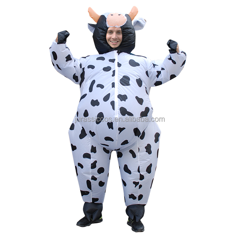 Inflatable Costume Halloween Christmas Cow Costume for Men Women Adult Unisex Milk Cattle Carnival Party