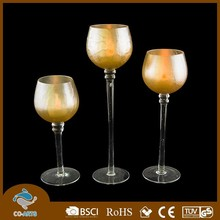 Various heights wine glass shape candle holder
