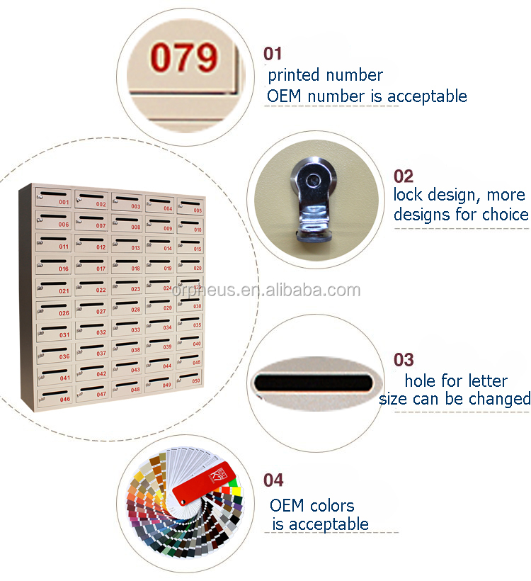 Stainless steel american letter box Residential Locking Cluster mail box/Large wall mounted metal letters mailbox