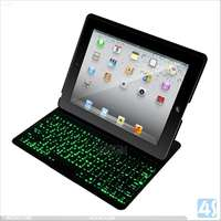 ACC4S Made In China Light Up Wireless Keyboard Leather Case For Ipad 2/3/4 P-iPD234CASE092