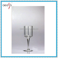 Clear Long Stem Wine Shaped Glass Vase For Flower Arrangements