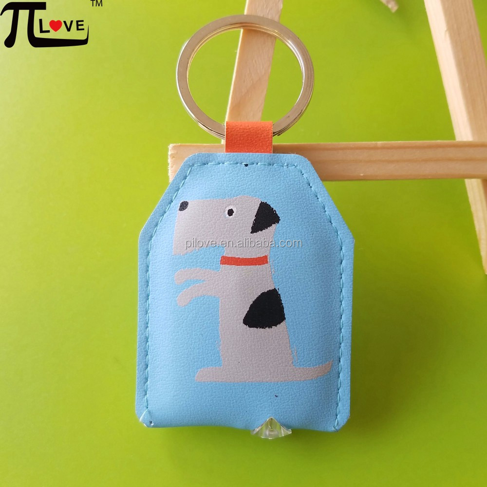 New Arrival! Promotional cheap Custom dog pu leather flash light keyring