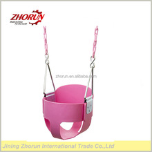 High Back Full Bucket Toddler Swing Seat with Plastic Coated Chains - Swing Set - Pink