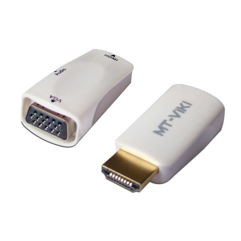 2pcs/lot HDMI Male to VGA Female Adapter hdmi to audio vga portable HD Converter for PS3,PC,tablet,DVD,camera