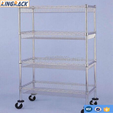 Chrome Mobile Metal Commercial Industrial Basket Trolley Rack