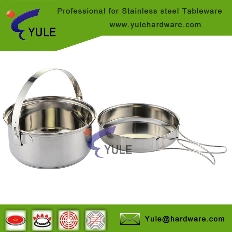 USA market FDA 201 stainless steel camping portable cooking pots /food container for pinnic