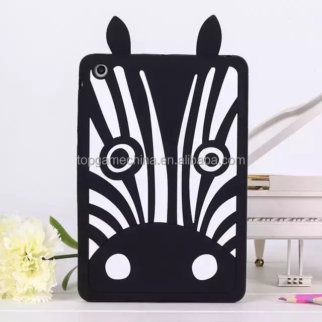 3D Animal Zebra Silicone Phone Case For iPad mini 2 3 4