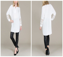 Women's White Long Sleeve Shirt Vintage Lace Sleeved Blouse Plus Size Apparel for Wholesale
