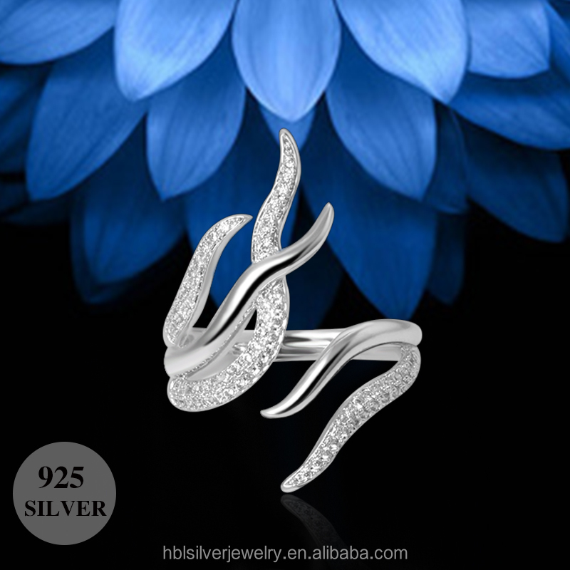 Open size fire new design ladies finger ring in silver jewelry